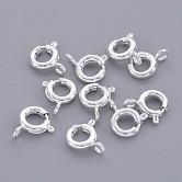 Латунная застежка пружинного кольца, ювелирные изделия компонентов, серебристый цвет, 6 мм, отверстие : 1.5 мм