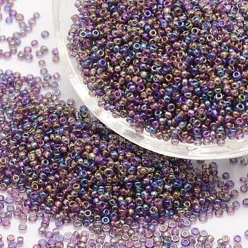 6/0 Perlas de vidrio redondo, Grado A, colores transparentes arco iris, orquídea oscura, 3.6~4.0mm, agujero: 1.2 mm, aproximamente 500 unidades / 50 g