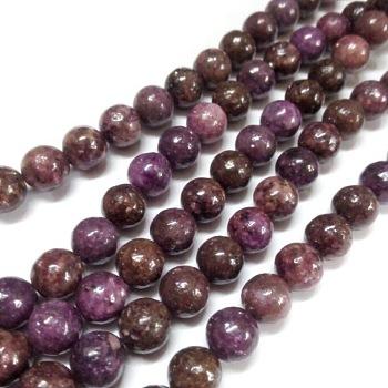 Lepidolita natural / hebras de perlas redondas de piedra de mica púrpura, 8mm, agujero: 1 mm, aproximamente 50 unidades / cadena, 15.74 pulgada