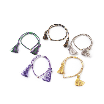 Braided Nylon Cord Bracelets, Tassel, Mixed Color, 9-7/8inches(25cm); 2mm