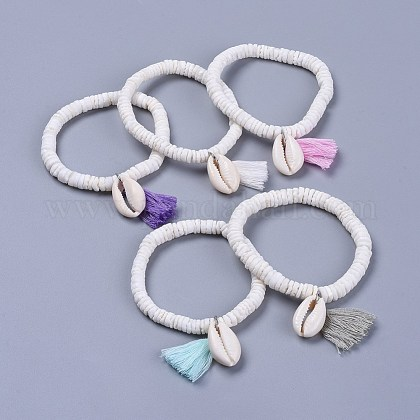 Cotton Thread Tassels Charm BraceletsBJEW-JB04385-1