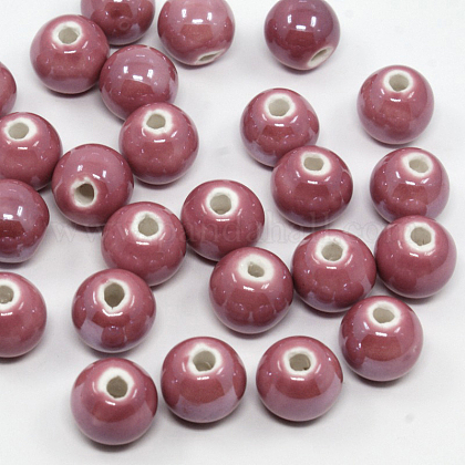 Pearlized PaleVioletRed Handmade Porcelain Round BeadsX-PORC-D001-10mm-06-1
