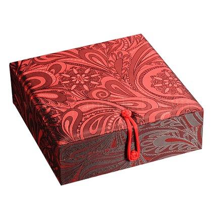 Cajas de joyas chinoiserie seda bordados con terciopelo cajas de joyas para regalos de embalajeSBOX-N001-01-1