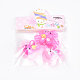 Flor con pinzas para el cabello con cinta mágica de nylon de conejitoOHAR-S193-54-3