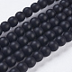 Synthetic Black Stone Bead Strands, Frosted, Round, 4~5mm, Hole: 1mm; about 95pcs/strand, 15.7