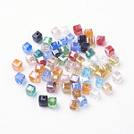 Electroplate Glass Beads, AB Color Plated, Faceted, Cube, Mixed Color, 4x4x4mm, Hole: 1mm