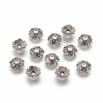 Tibetan Silver Bead Caps, Flower, Lead Free and Cadmium Free, Antique Silver, about 8mm in diameter, 2.5mm thick, hole: 1mm