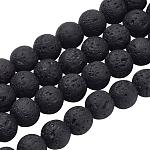 PH PandaHall 470pcs 8mm Natural Lava Beads Undyed Black Chakra Bead Strand Round Gemstone Loose Beads Energy Healing Beads for Jewelry Making