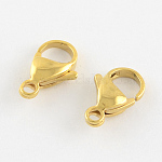 304 Stainless Steel Lobster Claw Clasps, Manual Polishing, Real 18K Gold Plated, 15x9x4mm, Hole: 2mm