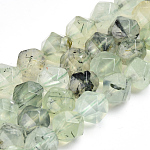 Natural Prehnite Beads Strands, Faceted, Round, 9.5~10x10mm, Hole: 1mm; about 40pcs/strand, 16.3''