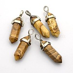 Natural Bullet Gemstone Pointed Pendants, with Platinum Plated Alloy Findings, 39~41x12~13x10~11mm, Hole: 5x4mm