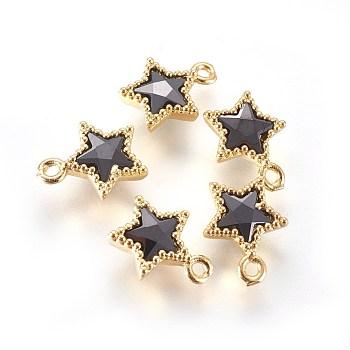 Micro ottone tono dorato spianare fascino zirconi, stella, nero, 10x8x3mm, Foro: 1 mm