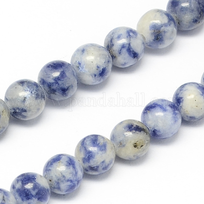 Natural Blue Spot Jasper Bead Strands G-R193-15-6mm-1