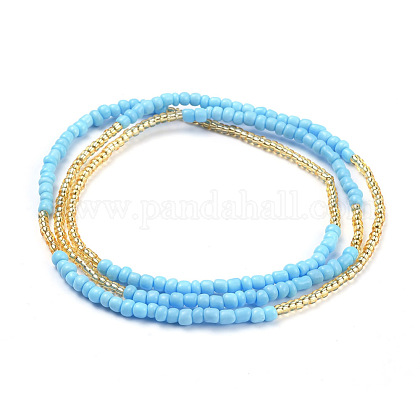 Glass Seed Beads Chain BeltsNJEW-C00010-1