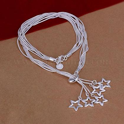 Popular Silver Color Plated Brass Multi-strand Snake Chain NecklacesNJEW-BB12805-1