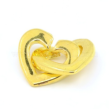 Brass Two Loops Heart Interlocking Clasps for DIY Jewelry KK-M051-01G-1