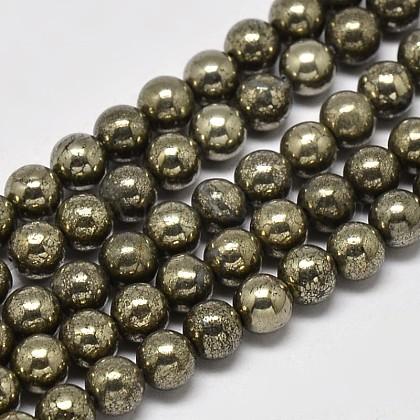 Natural Pyrite Round Beads StrandsG-F197-10-10mm-1
