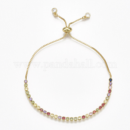 Adjustable Brass Cubic Zirconia Slider BraceletsBJEW-S141-02-1