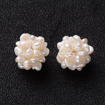 Cuentas de racimo de perlas de agua dulce cultivadas naturales redondas hechas a manoPEAR-I002-01-1