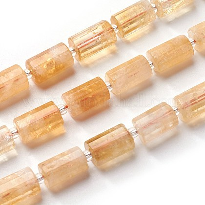 天然石シトリンビーズ連売りG-J385-E02-10x16mm-1