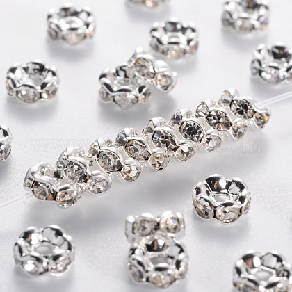 Brass Rhinestone Spacer BeadsRB-A014-L6mm-01S-NF-1