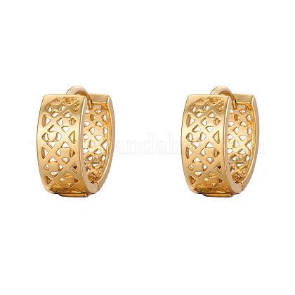 Real 18k oro pendientes de aro de latón chapadoEJEW-EE0002-003-1