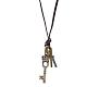 Adjustable Men's Zinc Alloy Pendant and Leather Cord Lariat NecklacesNJEW-BB15995-B-9