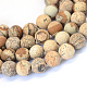 Frosted Natural Picture Jasper Round Bead Strands G-E334-12mm-26-1