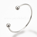 Brass Cuff Bangles Makings, Torque Bangles, with Removable Round Beads, Platinum, 2-1/8