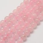 Chapelets de perles en quartz rose naturel, ronde, teinte, 8mm, trou: 1mm; environ 48 pcs/chapelet, 15.7''