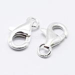Cierres de pinza de langosta de plata de ley 925, tallada 925, Platino, 9.5mm, agujero: 1 mm