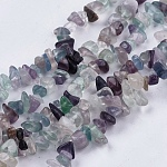 Fluorita natural, hilos de abalorios de piedra, chip, 4~10x4~6x2~4mm, agujero: 1 mm; aproximamente 210 unidades / cadena, 35.4 pulgada