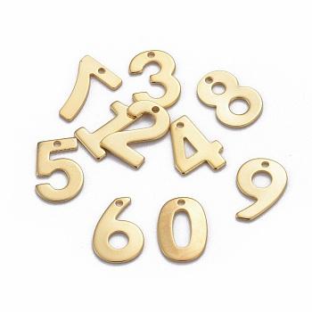 Encantos de 304 acero inoxidable, número, mixto, dorado, 11x7~8x0.8mm, agujero: 1 mm
