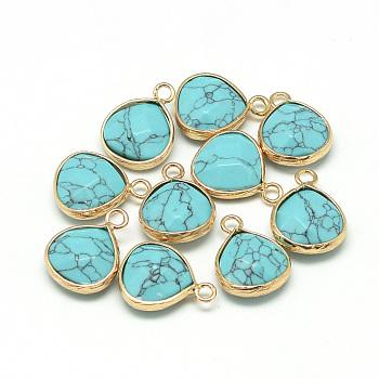 Синтетические бирюзовые подвески, с никелевыми латунными находками, граненые, окрашенные, слеза, золотые, бирюзовые, 17.5x13.5x6.5 мм, отверстие : 2 мм