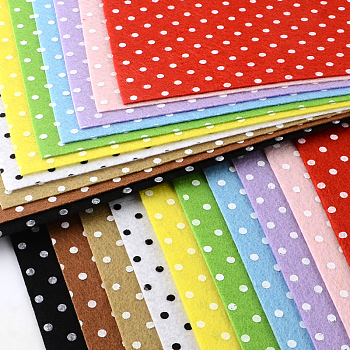 Polka Dot Pattern Printed Non Woven Fabric Embroidery Needle Felt for DIY Crafts, Mixed Color, 30x30x0.1cm; 50pcs/bag