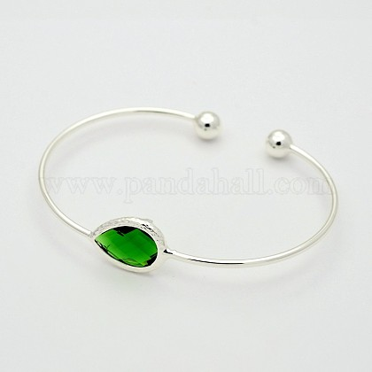 Silver Color Plated Brass Glass Cuff Bangles BJEW-J145-01-1