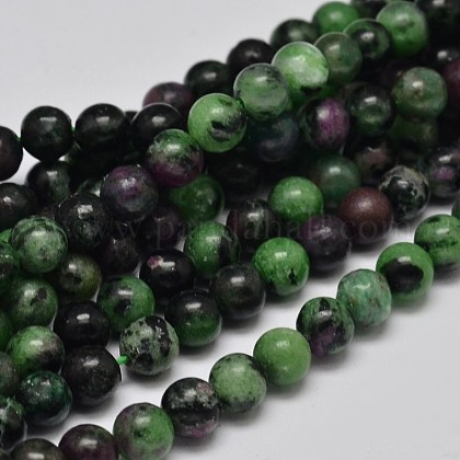 Natural Round Ruby in Zoisite Bead Strands G-F289-12-6mm-1