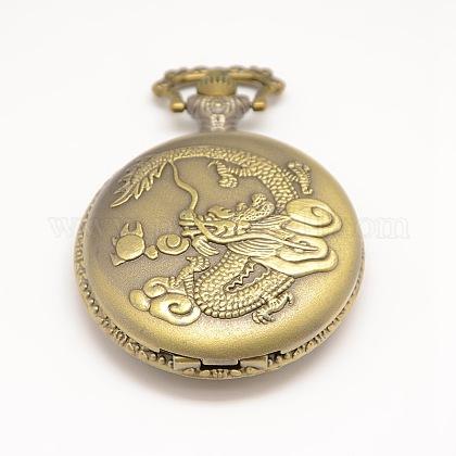 Plana redonda tallada dragón de cuarzo aleación de la vendimia del reloj cabezas colgantes para el collar del reloj de bolsilloWACH-M109-21-1