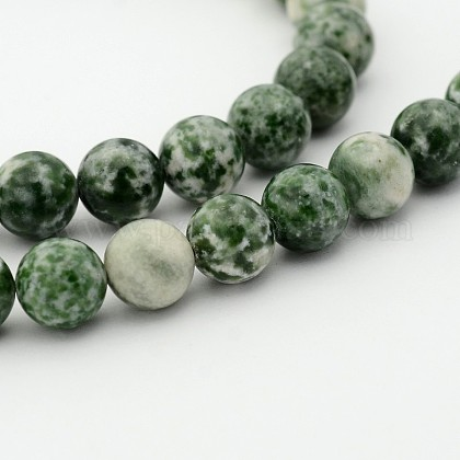 Brins de perles rondes en jaspe tache verte naturelleG-P070-45-12mm-1