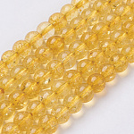 Citrine Beads Strands, Round, Synthetic Crystal, Dyed & Heated, 6mm, Hole: 0.8mm