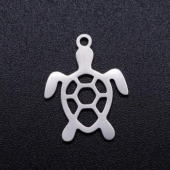 201 Edelstahl hohlen Anhänger, Schildkröte, Edelstahl Farbe, 19x14x1 mm, Bohrung: 1.5 mm