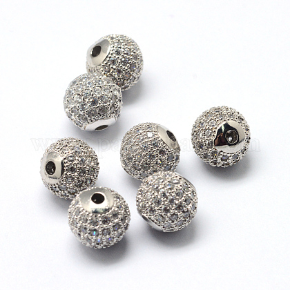 Abalorios de latón cubic zirconia chapado en rackX-ZIRC-S001-6mm-A03-1