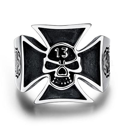 Fashion 316L Stainless Steel Skull with Cross Rings for MenRJEW-BB03868-12-1