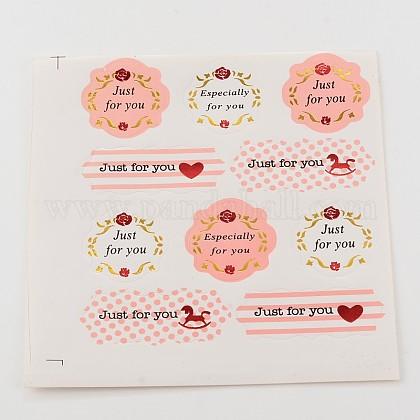 Flower Pattern with Word Just For You & Especially For You DIY Label Paster Picture StickersAJEW-M023-07-1