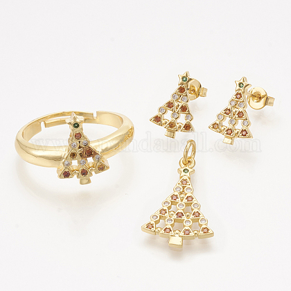 Colgantes de latón circonita cúbica y aretes y anillos ajustables conjuntos de joyasSJEW-S043-05-1