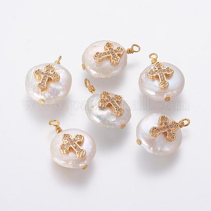 Colgantes naturales de perlas cultivadas de agua dulcePEAR-L027-14D-1