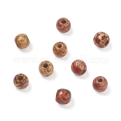 Printed Natural Wood Beads WOOD-TA0001-15-1