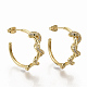 Brass Micro Pave Clear Cubic Zirconia Stud Earrings, Half Hoop Earrings, with Earring Backs, Snake, Real 16K Gold Plated, 30x28mm, Pin: 1mm