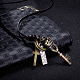 Adjustable Men's Zinc Alloy Pendant and Leather Cord Lariat NecklacesNJEW-BB15995-B-3