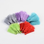 Polyester Tassel Pendant Decorations, Mixed Color, 37~43x5mm; about 200pcs/bag